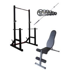 Squat Rack , FID Bench and Olympic Bar and  Weights Package