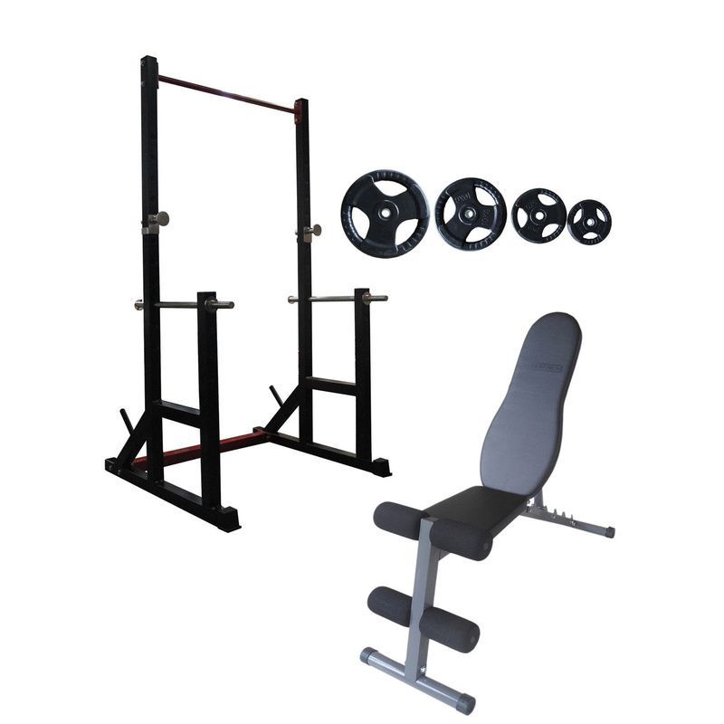 Squat Rack Fid Bench And Standard Weights Package