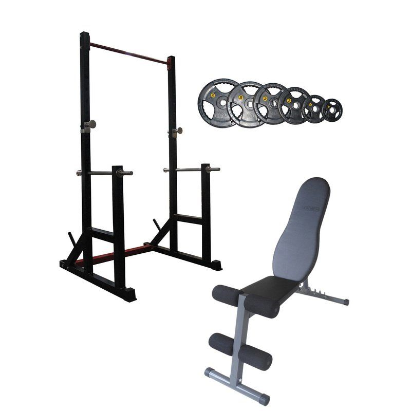 Squat Rack Fid Bench And Olympic Weights Package