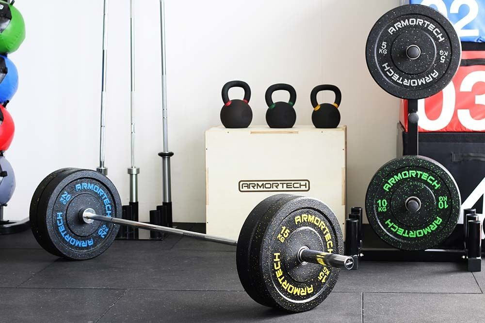 100kg Armortech V2 Crumb Bumper + 7ft Oylmpic Barbell Set