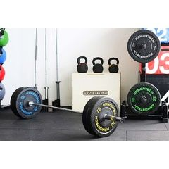 100kg Armortech V2 Crumb Bumpers & Women's Power Barbell Set2