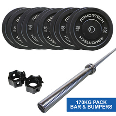 170kg Armortech V2 Black Bumper & Barbell Set