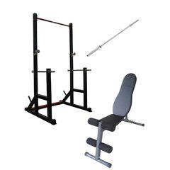 Squat Rack - FID Bench and Olympic Bar Package