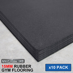 Armortech 10 pack Black Rubber Gym Flooring Mats