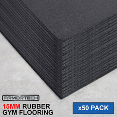 Armortech 50 pack Black Rubber Gym Flooring Mats