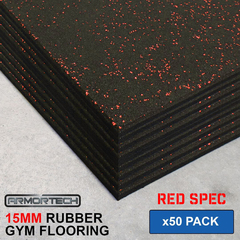 Armortech 50 pack Red Rubber Gym Flooring Mats