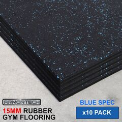 Armortech 10 pack Blue Rubber Gym Flooring Mats