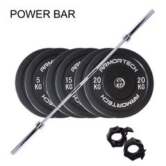 100kg  Armortech V2 Black Bumpers & Power Barbell Set