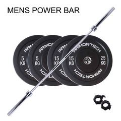 60KG Armortech V2 Black Bumper & Mens Power Barbell Set