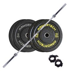 60kg Armortech V2 Black Bumper & Barbell Set